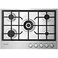 Fisher Paykel CG305DNGX1 30 Gas Cooktop with 5 Burners 1/2 Gallon Spill Containment Electronic Ignition Cast Iron Trivets and Easy Clean Design in Stainless Steel: Natural