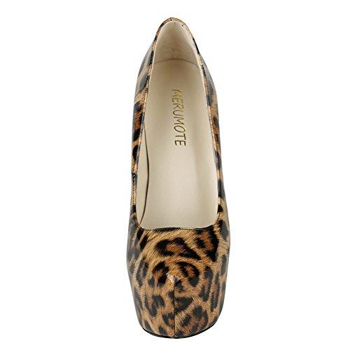 MERUMOTE - Zapatos de Plataforma mujer leopardo