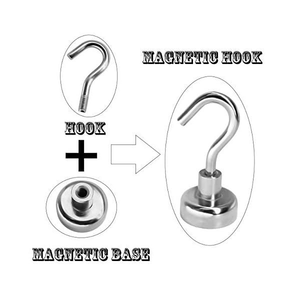 41 WBbHcaAL Magnetpro 6 Stück Magnethaken 9 KG Kraft, 16 mm Magnete Magnetischer für Türen, Schränke, Decken, Armaturen…