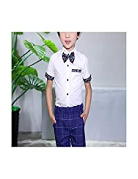 Jwhui Boys Summer Dress Shirts Children Wedding Party Shirt Kids Boy Cotton Blouses Clothes