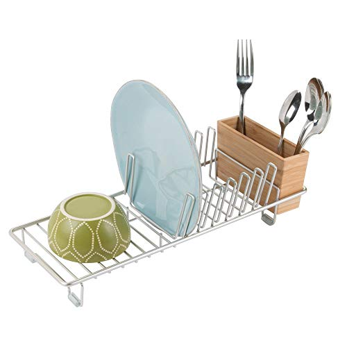 mDesign Compact Modern Kitchen Countertop, Sink Dish Drying Rack, Removable Cutlery Tray - Drain and Dry Wine Glasses, Bowls and Dishes - Metal Wire Drainer in Satin with Natural Bamboo Caddy
