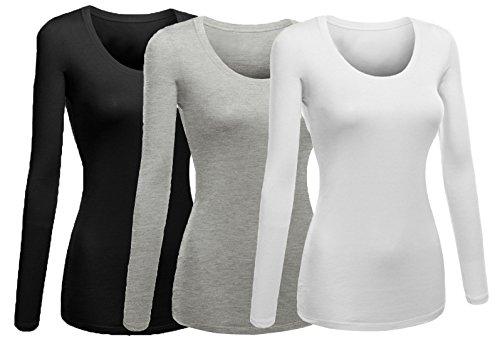 (Emmalise Women's Junior and Plus Size Basic Scoop Neck Tshirt Long Sleeve Tee, Small, 3Pk White, H Grey, Black)