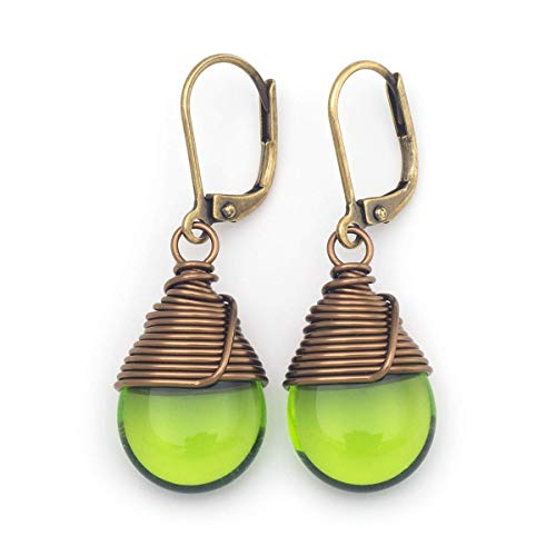 Green Czech glass wire-wrapped drop antique bronze tone lever-back earrings -