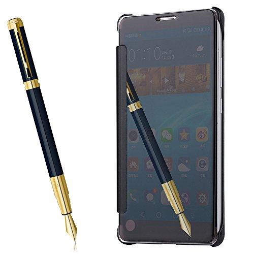 Funda Mate 9,Grandcaser Huawei Mate 9 Slim [especular a] Funda Clear Choque Absorción Flip Cover Carcasas para Huawei Mate 9 (2016) - Plata Negro