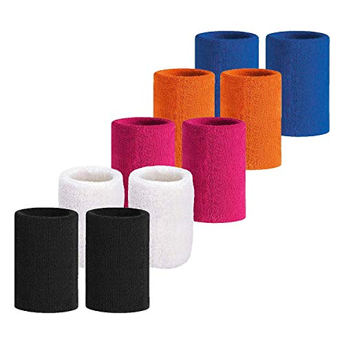 (Meta-U 5 Pairs Wholesale Soft Thicken Cotton Wristbands (5 Color))