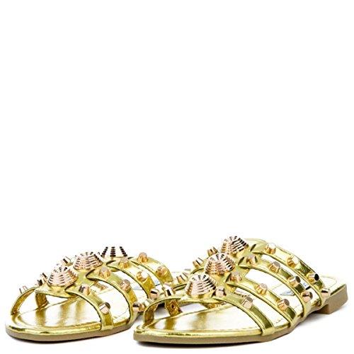 Kvinna Vintage Platt Dubbade Toffel Öppen Tå Slide Mode Sandal Olive