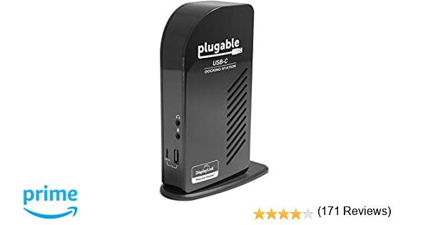 Plugable USB-C Triple Display Docking Station with Charging Support/Power Delivery for Specific Windows and Mac USB Type-C and Thunderbolt 3 Systems
