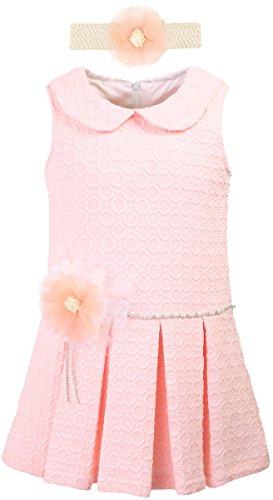 Lilax Little Girls' Dot Flocked Toddler Summer Dress With Headband 2T Pink (Flocked Dot Dress)