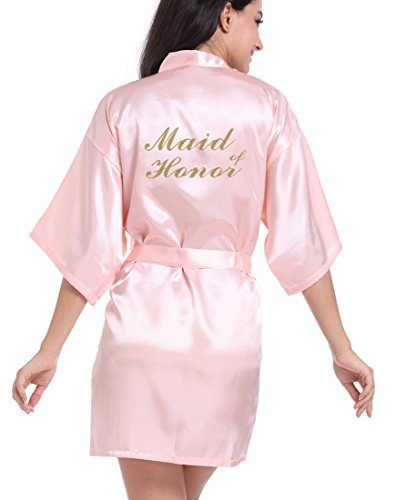 DF-deals Women's Satin Kimono Robe for Bridesmaid and Bride Wedding Party Getting Ready Short Robe with Gold Glitter]()