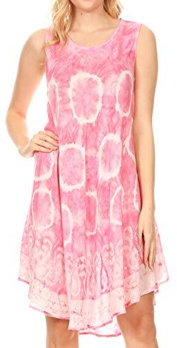 (Sakkas 18151 - Marlena Women's Swing Sleeveless Tie Dye with Batik Nightgown Dress Cover - Fuchsia - OS)