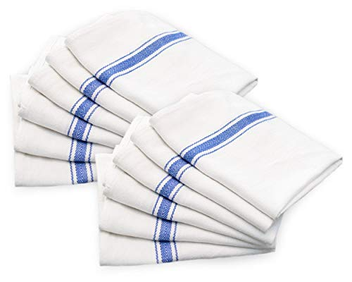 Cotton & Calm Exquisitely Absorbent Kitchen Towels Dish Cloths Set (12 Pack, 15 x 25), White with Blue Stripes Dish Towels, Tea Towels- Crafted for Home, Restaurant, Bar Use