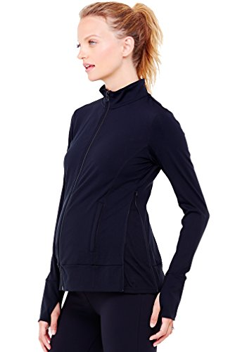 Ingrid & Isabel Women's Maternity Side Zip Active Jacket, Jet Black, (East Side Jacket)