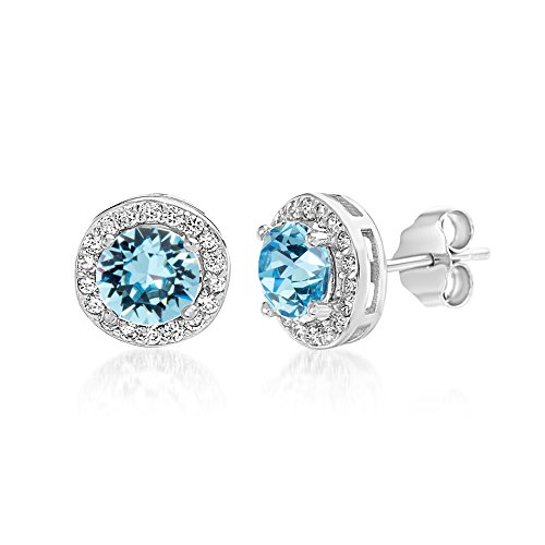Devin Rose Sterling Silver Round Halo Stud Earrings for Women made With Swarovski Crystals (Light Turquoise Crystal Imitation December Birthstone)