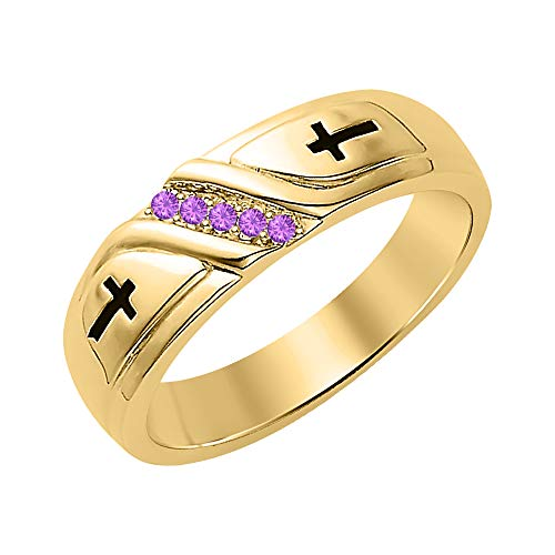 SVC-JEWELS Wedding 5-Stone Men's Cross Ring Amethyst 18K Yellow Gold Over .925 Sterling ()