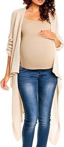 [Happy Mama Womens Maternity Waterfall Cardigan Blazer Knit Coat Long Wrap 277p (Ecru, 8/12)] (Maternity Sweater Coat)