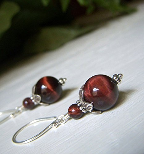 (Red Tiger's Eye Earrings - Hill Tribe Sterling Silver Round Shape - AAA Quality)