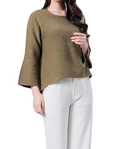 Pullover S Lunghe Lana Da Chiaro Verde Di In Top Donna colore Maniche Con Dimensione Zhrui Burgundy Maglione A ZB0nq