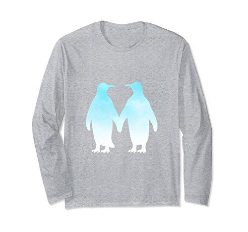 Penguin Walking T-shirt (Unisex Penguins Walking Holding Hands In Love I Love Animals Small Heather Grey)