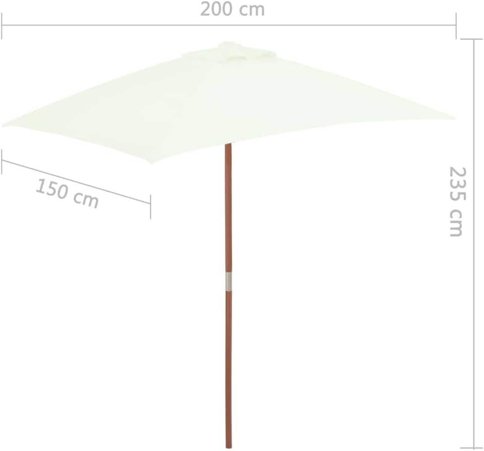 Ombrellone Parasole da Esterno con Palo in Legno 150x200 cm Festnight Ombrellone Parasole da Giardino con Palo in Legno
