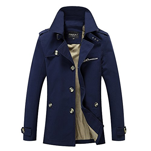Lunga Cappotto Cappottino Marino Leggera Blu Vintage Casual Uomo Giacche Manica Giacca Moda Slim 8qvndZv