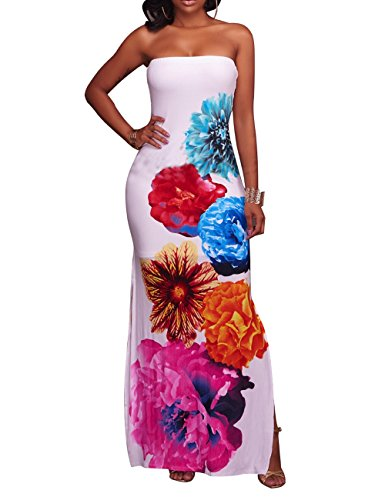 (CutieLove Women's Casual Sexy Floral Print Bandeau Off Shoudler Beach Party Long Maxi Dress)