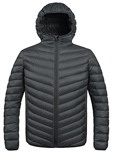 ZSHOW Men's Winter Packable Down Jacket with Hood Coat(Dark Grey, Medium)