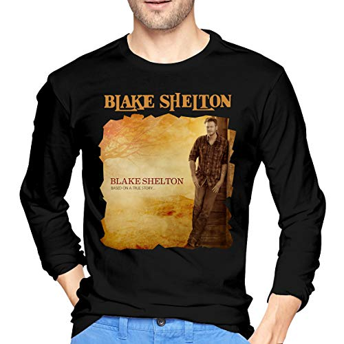 MarshallD Men's Blake Shelton Based On A True Story Cotton Long Sleeve T-Shirts Black XXL -