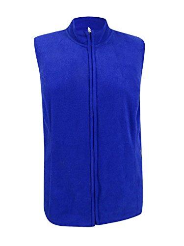 Karen Scott Sports Womens Plus Fleece Mock Neck Outerwear Vest Blue 1X by Karen Scott