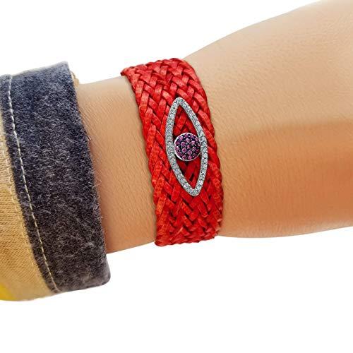 (Stunning Red Genuine Leather + Evil Eye Adjustable Bracelet -Women To Wear Daily   Alef Bet Jewelry)