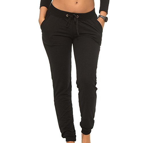 Coco-Limon Jogger Pants For Women, Long French Terry With Rib Trimming & Side Pockets, Black, (Limon Square)