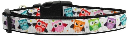 Mirage Pet Products Bright Owls Nylon Ribbon Dog Collar, X-Large