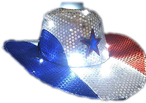 GiftExpress Light Up Patriotic Cowboy Hat/Patriotic Sequin Cowboy Hat/Star Cowboy Hat/Patriotic LED Cowboy Hat