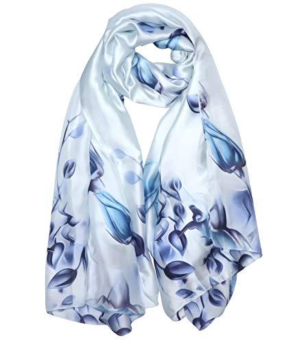 NUWEERIR Womens 100% Mulberry Silk Scarf Long Satin Scarf Fashion Designer Scarf Lightweight Wraps - Long Silk Floral Scarf