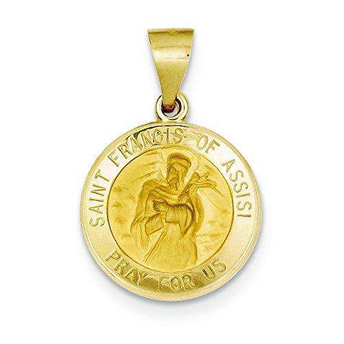 Et satiné poli 14 carats Médaille de Saint François Assisi-JewelryWeb