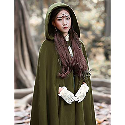 Gihuo Women's Wool Hooded Cape Solid Color Maxi Cloak Trench Coat (Army Green, One Size): Clothing