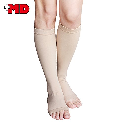 MD Knee High Microfiber Opaque Compression Stockings Open-Toe Firm Support 23-32mmHg For Varicose Veins, Edema, Spider Veins NudeL