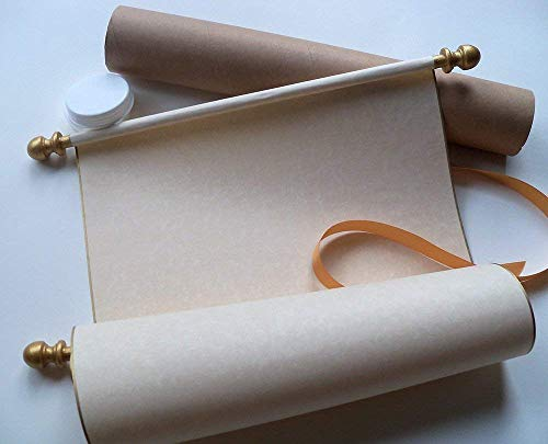 Extra wide blank parchment scroll, gold accents, 11x19