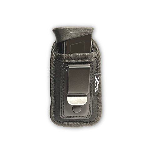 TacX Pro Gear Universal IWB Pistol Mag Pouch | Inside The Waistband Magazine Holder | Single and Double Stack Magazine Concealment Holsters for 9mm/.40/.45/.380 (Small Single Stack)