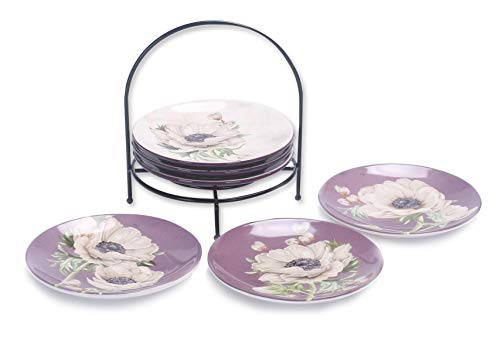 Bico Purple Poppy 6 inches Ceramic Appetizer Plate with Rack, Set of 7, for Salad, Appetizer, Snacks, Plates Microwave & Dishwasher Safe, House Warming Birthday Anniversary Gift