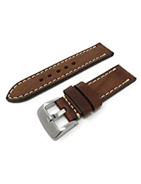 JP Leatherworks Men's M121-Tan-22 22mm Panerai Style Leather Tan Watch Band