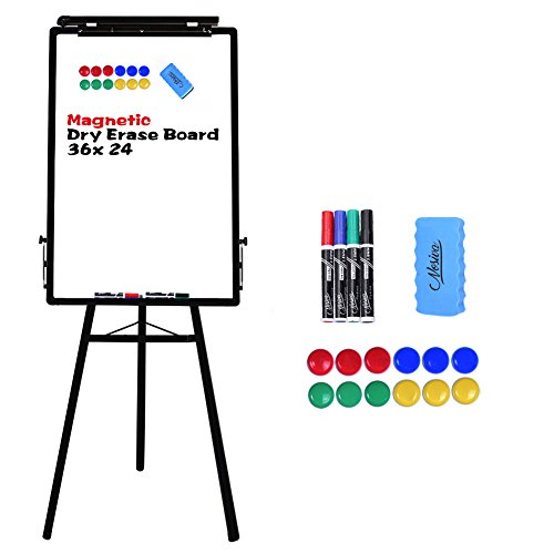 Nosiva Tripod Whiteboard - 24x36 Inches Magnetic Dry Erase Board/Flipchart Easel With Black Aluminum Frame, Lightweight White Boards, Height Adjustable Whiteboard -