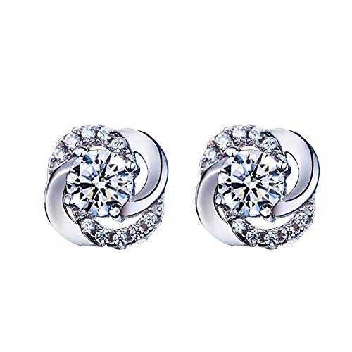 andy coolLadies Contracted Style Silver Plated Rhinestone Ear Studs Earrings Piercing Jewellery Gift Silver Durable and ()