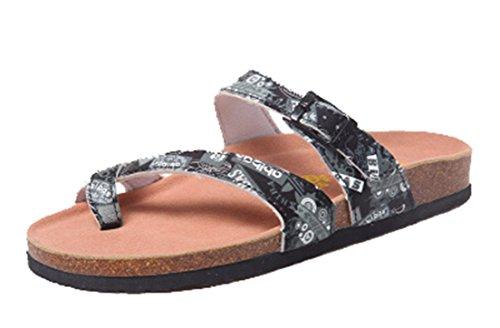Seaoeey Girls Beach Vacation Folder Toe Sandals Cork Slippers Black Word 8M