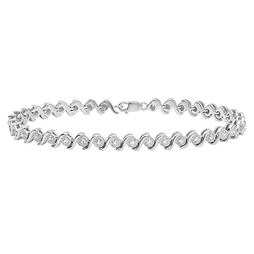 "0.20 Carat (ctw) Sterling Silver Round Cut Diamond Ladies ""S"" Curve Tennis Bracelet 1/5 CT"
