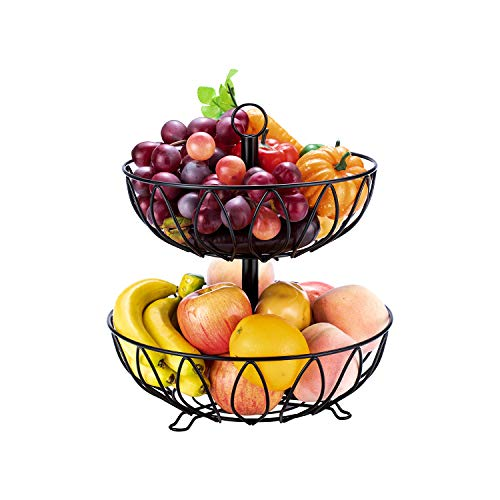 Fruit Stand Vegetables Basket Counter Top Fruit Basket Bowl Storage Black Cast Iron (2-Tier) (Holder Fruit Basket)