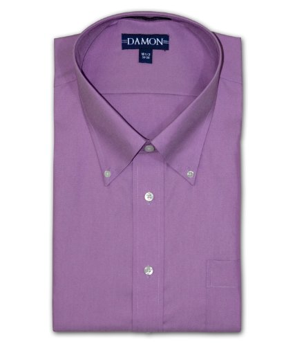 Enro Damon Pinpoint Oxford Button Down Collar Big & Tall Size Dress Shirt (Purple, 18