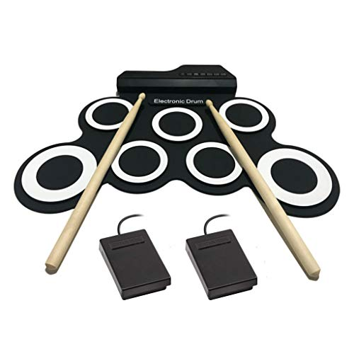 Portable Electronic Drum Pad – Digital Roll-Up Touch Sensitive Drum Practice Kit – 7 Labeled Pads 2 Foot Pedals Kids Children Beginners (No Speakers/AAA Battery Operated) (Black)