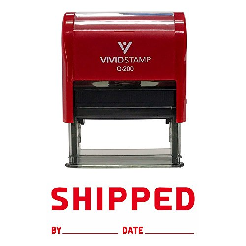 SHIPPED By Date Self Inking Rubber Stamp (Red Ink) - Medium