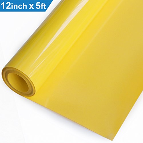 Heat Transfer Vinyl HTV for T-Shirts 12 Inches by 5 Feet Roll (Yellow) by XPCARE