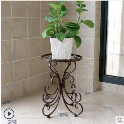 Wendy JINGQI Plant Stand Metal Flower Holder Pot with Garden Decoration Display Wrought Iron Planter Rack Shelf Organizer for Garden Home Office or Living Room and Balcony (Chocolate Color) by Wendy JINGQI